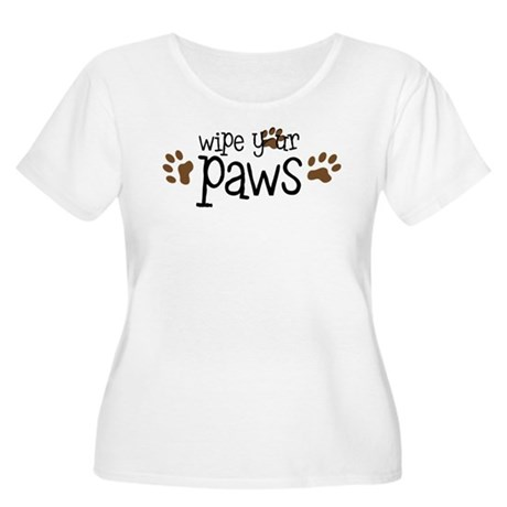 Wipe Your Paws Women's Plus Size Scoop Neck T-Shir
