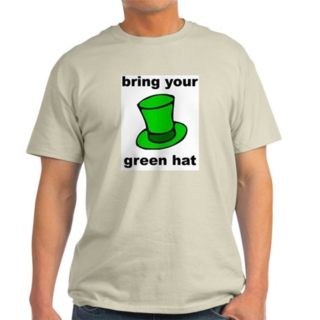 green hat Ash Grey T-Shirt