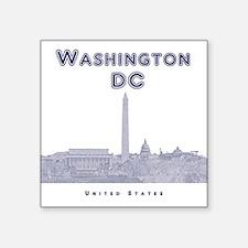"Washington DC Square Sticker 3"" x 3"""