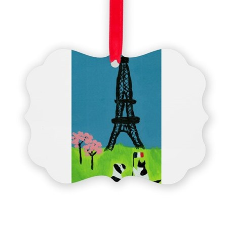 Dog Cat and the Eiffel Tower Picture Ornament