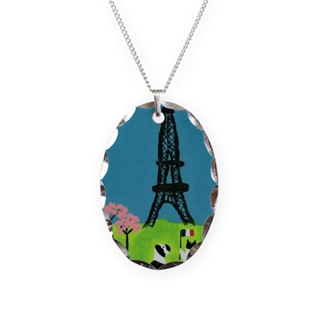 Dog Cat and the Eiffel Tower Necklace Oval Charm