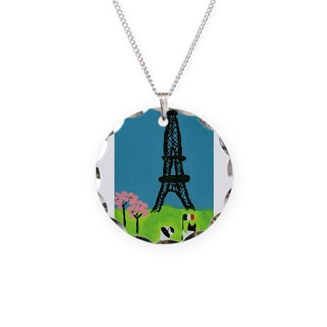 Dog Cat and the Eiffel Tower Necklace Circle Charm