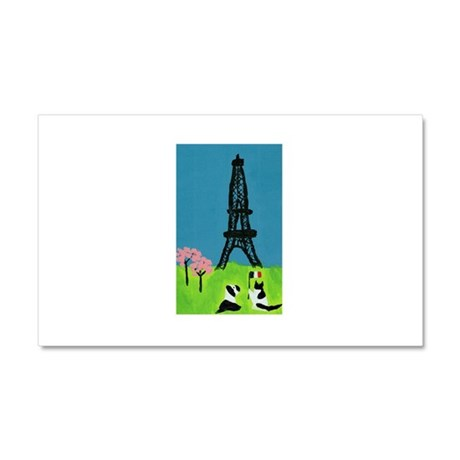 Dog Cat and the Eiffel Tower Car Magnet 20 x 12