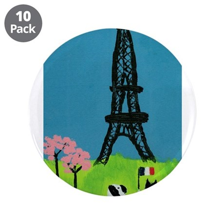 """Dog Cat and the Eiffel Tower 3.5"""" Button (10 pack)"""
