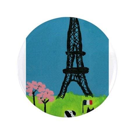 """Dog Cat and the Eiffel Tower 3.5"""" Button"""
