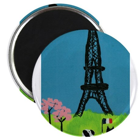 "Dog Cat and the Eiffel Tower 2.25"" Magnet (100 pac"