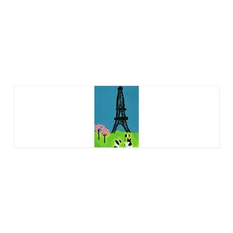 Dog Cat and the Eiffel Tower 36x11 Wall Decal