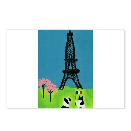 Dog Cat and the Eiffel Tower Postcards (Package of