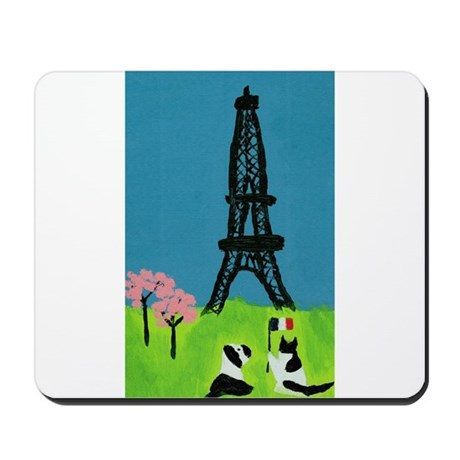 Dog Cat and the Eiffel Tower Mousepad