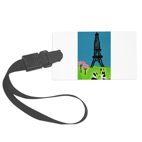Dog Cat and the Eiffel Tower Large Luggage Tag