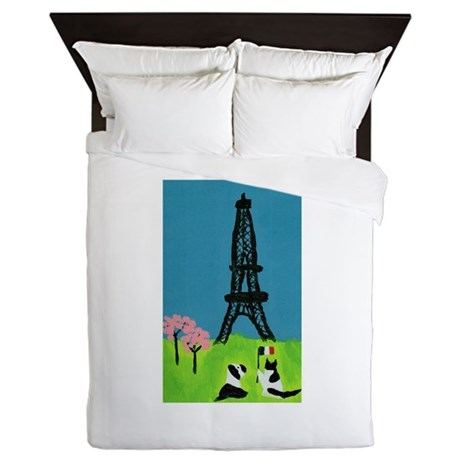 Dog Cat and the Eiffel Tower Queen Duvet