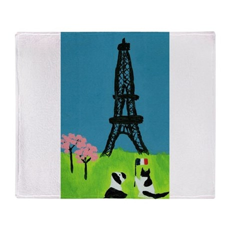 Dog Cat and the Eiffel Tower Throw Blanket