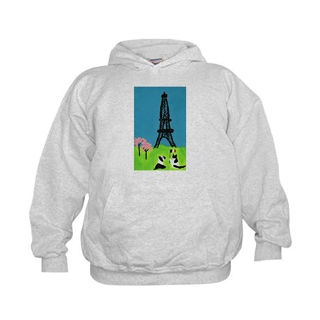 Dog Cat and the Eiffel Tower Kids Hoodie