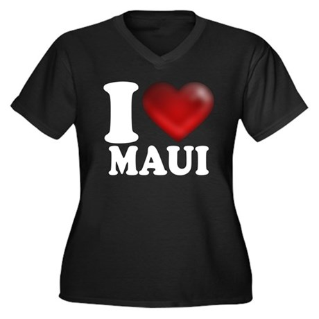 I Heart Maui Women's Plus Size V-Neck Dark T-Shirt