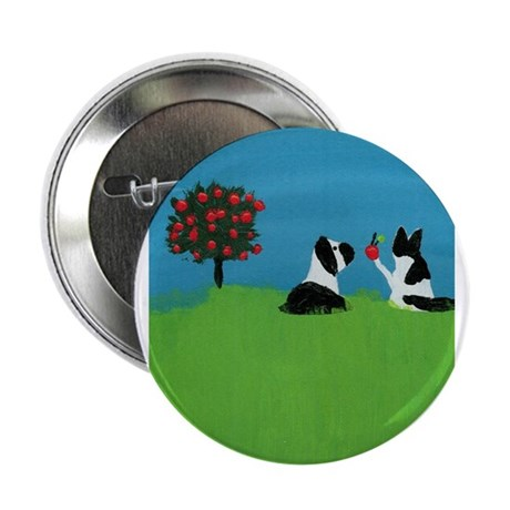 "Dog and Cat in the Orchard 2.25"" Button"