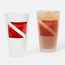 Distressed Dive Flag Drinking Glass
