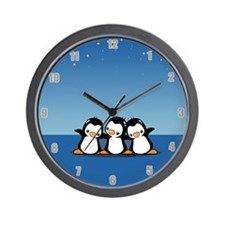 Penguins (together) Wall Clock