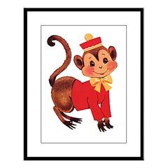 Circus Monkey Large Framed Print