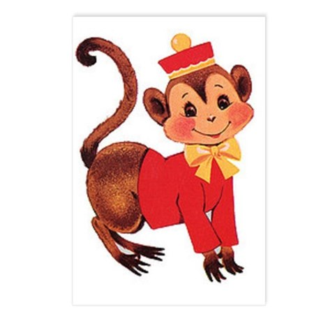 Circus Monkey Postcards (Package of 8)