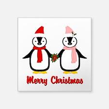 "Merry Penguins Square Sticker 3"" x 3"""
