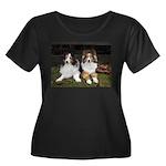 Friends Women's Plus Size Scoop Neck Dark T-Shirt
