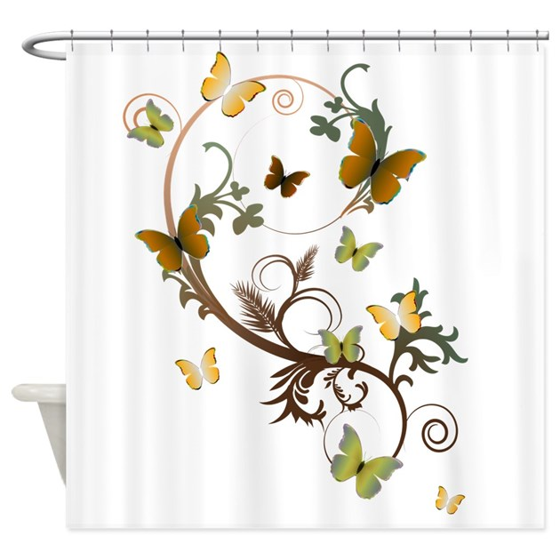 Earth Tone Butterfly Shower Curtain By Alondrascreations