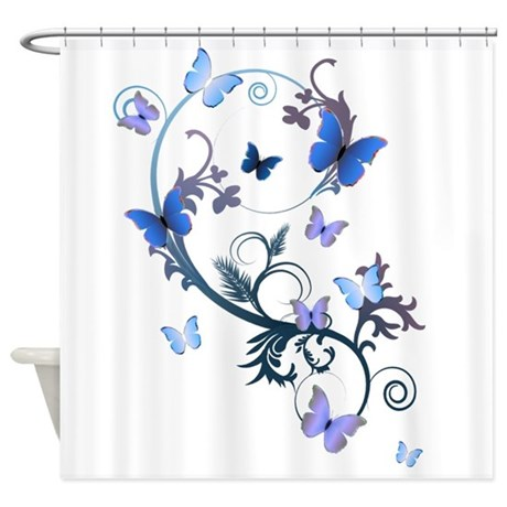 blue butterflies shower curtain by alondrascreations