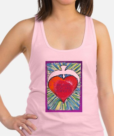 solid heartWORTHit.jpg Racerback Tank Top