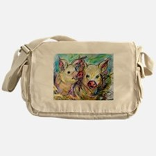 piglets, pig pair Messenger Bag