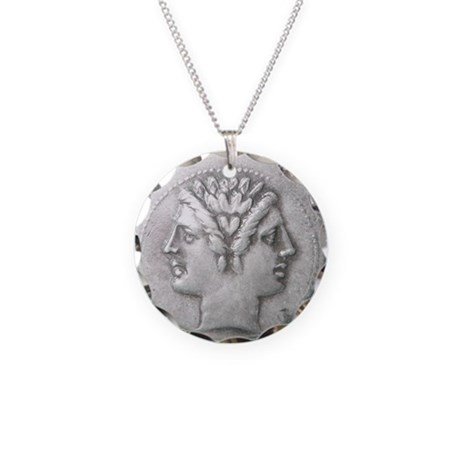 Ancient Coin Showing Janus Necklace Circle Charm