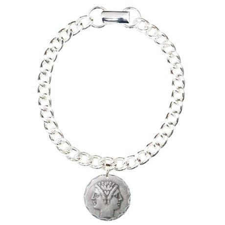 Ancient Coin with Janus Charm Bracelet, One Charm