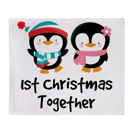 1st Christmas Together Penguin Throw Blanket