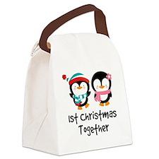 1st Christmas Together Penguin Canvas Lunch Bag
