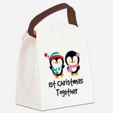 1st Christmas Together Penguin Canvas Lunch Bag