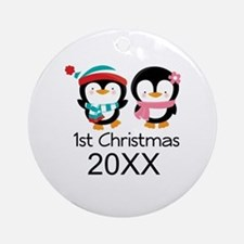 1st Christmas Personalized Penguins Ornament (Roun