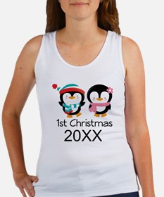 1st Christmas Personalized Penguins Women's Tank T