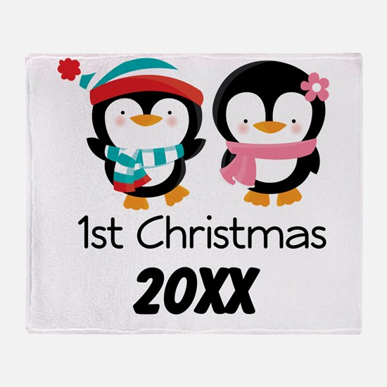 1st Christmas Personalized Penguins Throw Blanket