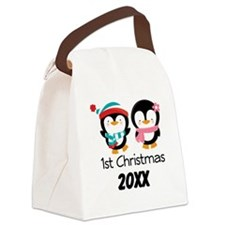 1st Christmas Personalized Penguins Canvas Lunch B