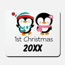 1st Christmas Personalized Penguins Mousepad