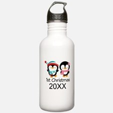 1st Christmas Personalized Penguins Water Bottle