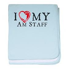 I Heart My AmStaff baby blanket