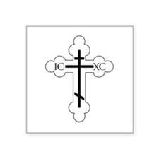 "Orthodox Cross Square Sticker 3"" x 3"""