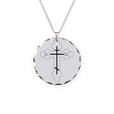 Orthodox Cross Necklace Circle Charm