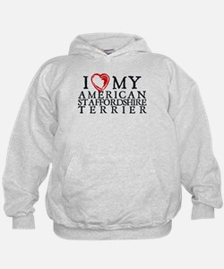 I Heart My Am. Staffordshire Terrier Hoodie