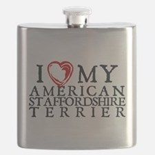 I Heart My Am. Staffordshire Terrier Flask