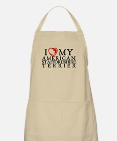 I Heart My Am. Staffordshire Terrier Apron