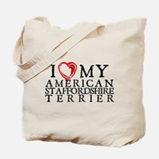 I Heart My Am. Staffordshire Terrier Tote Bag