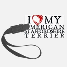 I Heart My Am. Staffordshire Terrier Luggage Tag