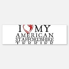 I Heart My Am. Staffordshire Terrier Bumper Bumper Sticker