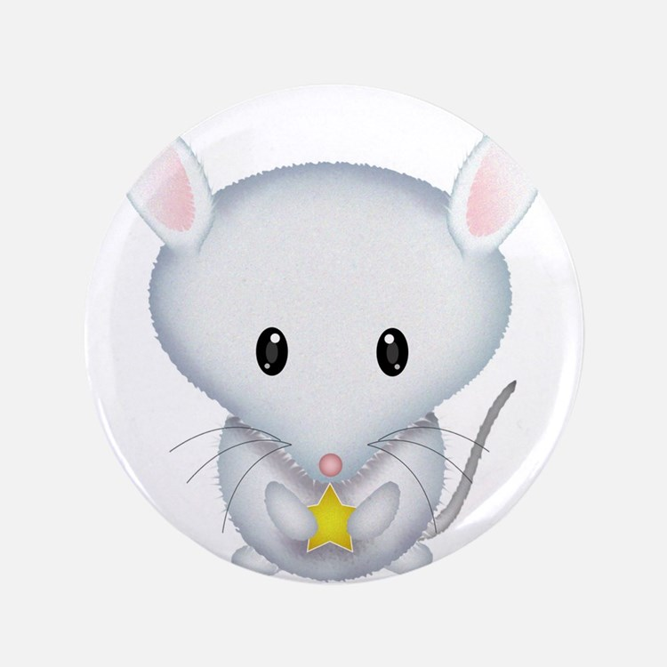 """Little White Mouse 3.5"""" Button (100 pack)"""